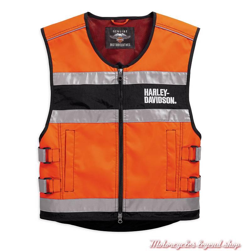 Gilet de sécurité moto orange CE Harley-Davidson, polyester, 3M réfléchissant, 98157-18EM