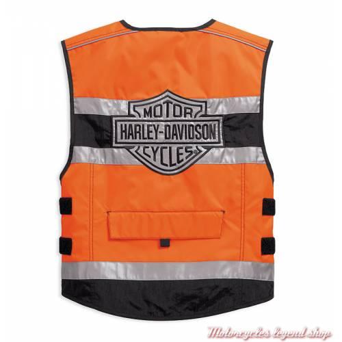 Gilet de sécurité moto orange CE Harley-Davidson, polyester, 3M réfléchissant, dos, 98157-18EM
