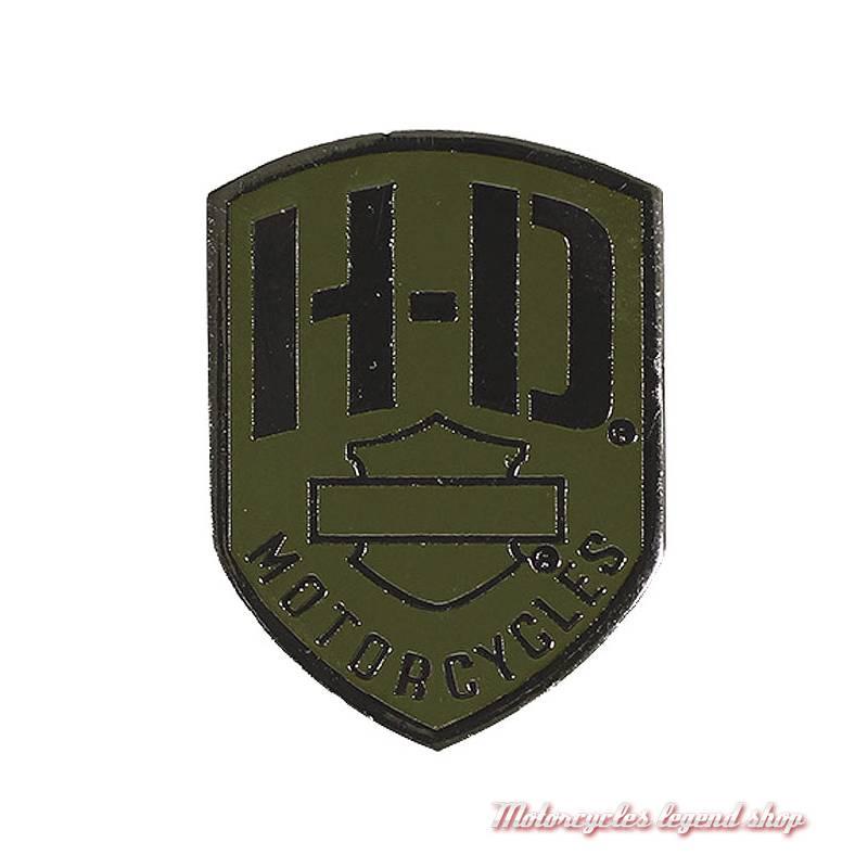 Pin's H-D Badge Harley-Davidson, métal noir, kaki, P475531