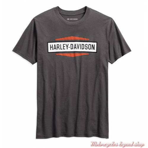 Tee-shirt Harley-Davidson homme, coton, gris, col rond, manches courtes, 99078-18VM