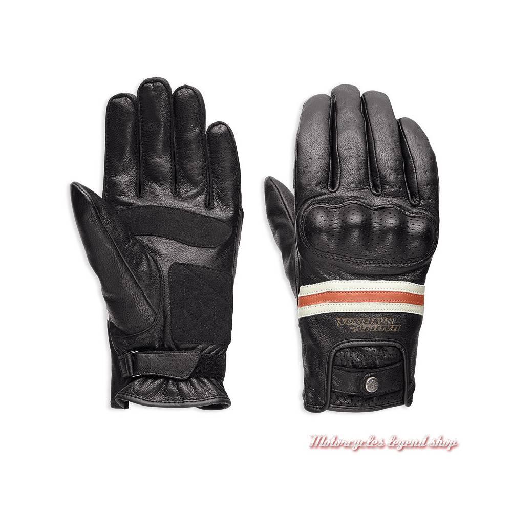 Gants cuir Reaver Harley-Davidson homme, noir, orange, blanc, homologués, 98178-18EM