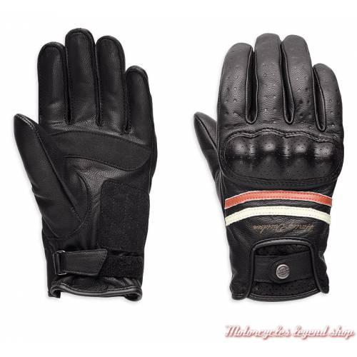 Gants cuir Kalypso Harley-Davidson femme, noir, orange, blanc, homologués, 98180-18EW