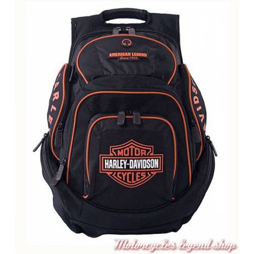 Sac à dos Bar & Shield black/orange, nylon, Harley-Davidson BP1900SO