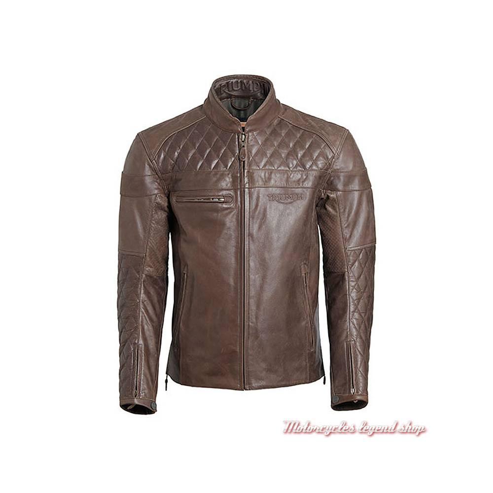 Blouson cuir Andorra Triumph homme, marron, matelassé, vintage, MLHS18106