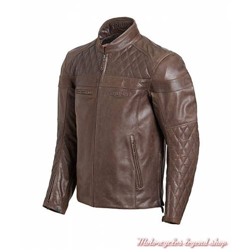 Blouson cuir Andorra Triumph homme, marron, matelassé, vintage, MLHS18106-2