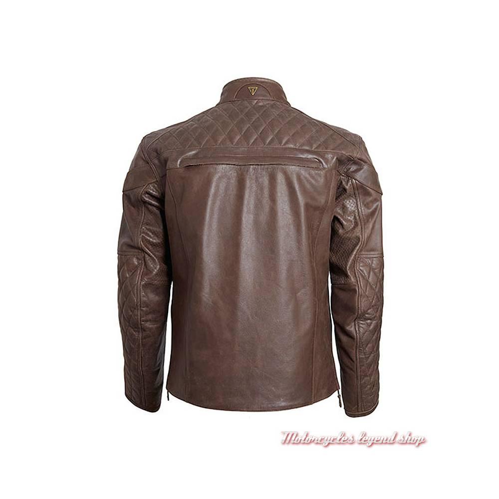 Blouson cuir Andorra Triumph homme, marron, matelassé, vintage, dos, MLHS18106