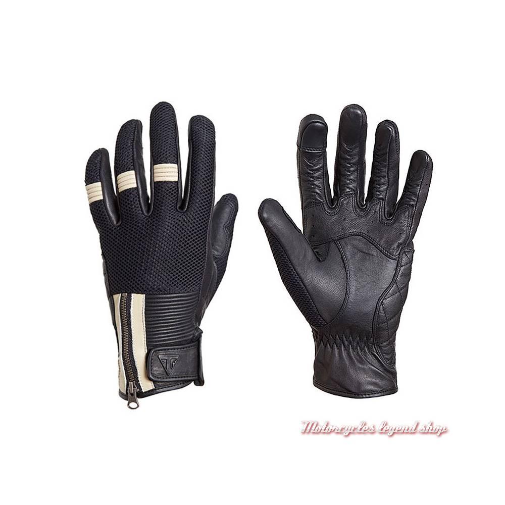 Gants mesh Raven Triumph homme, noir, crème, maille et cuir, MGVS18130