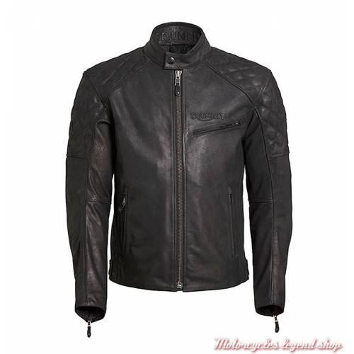 Blouson cuir Arno Triumph homme, noir, matelassé, vintage, MLHS18107