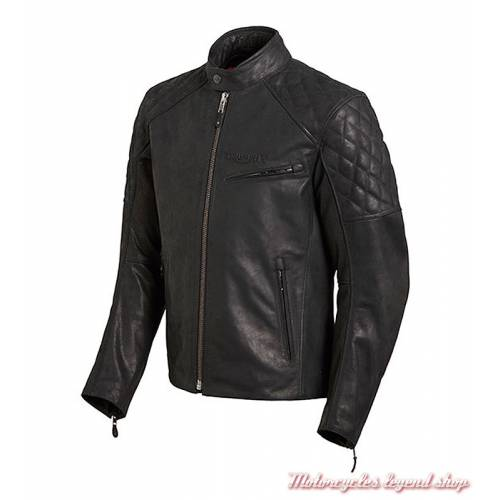Blouson cuir Arno Triumph homme, noir, matelassé, vintage, MLHS18107-2
