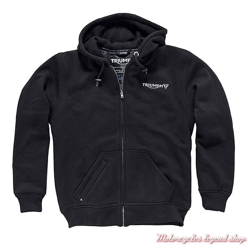 Sweatshirt Riding Triumph, homme, zippé, à capuche, noir, coton brossé, MTHS17121