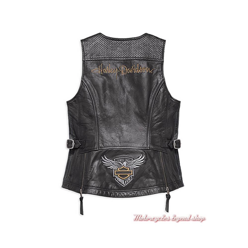 Gilet cuir 115th Anniversary Harley-Davidson femme, noir, zippé, dos, 98011-18VW