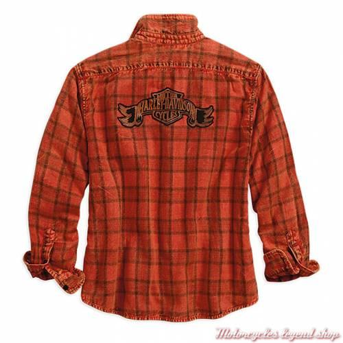 Chemise à carreaux Harley-Davidson femme, manches longues, orange, noir, coton, dos, 96270-18VW