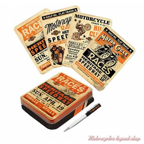 Coffret métal 8 cartes Race Day Harley-Davidson, stylo, HDL-20025