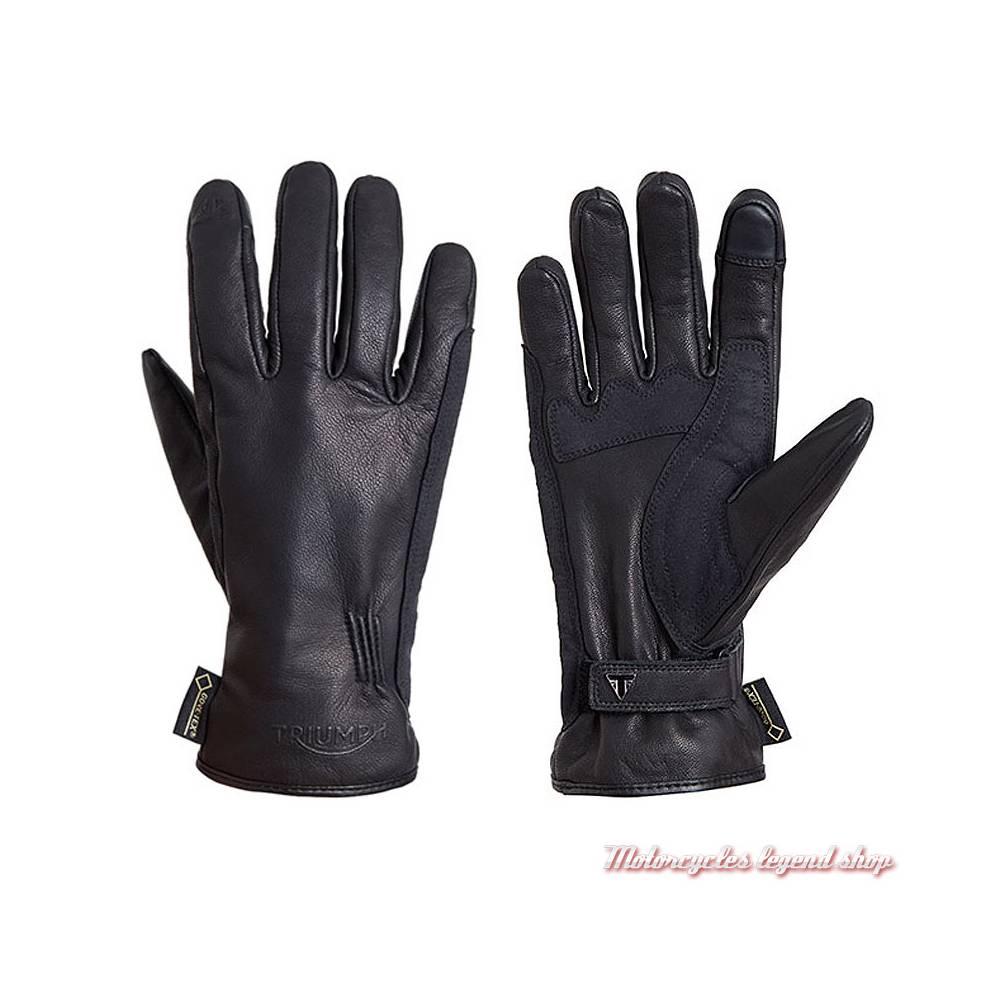 Gants Dereham Triumph mixte, cuir noir, Gore-Tex, imperméable, MGVS18126