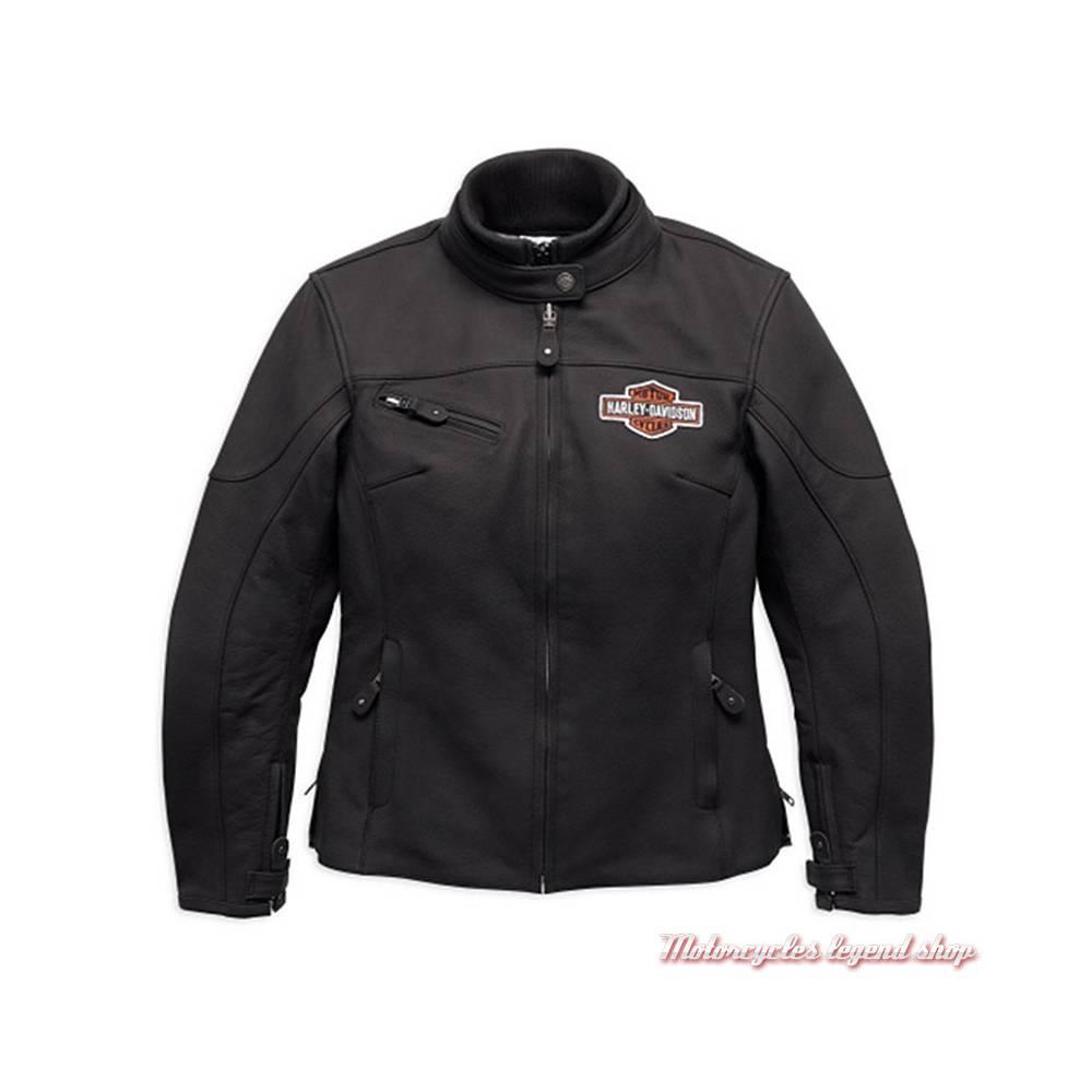 Blouson cuir Legend Harley-Davidson femme, noir mat, Bar & Shield brodé, homologué CE, 98131-17EW