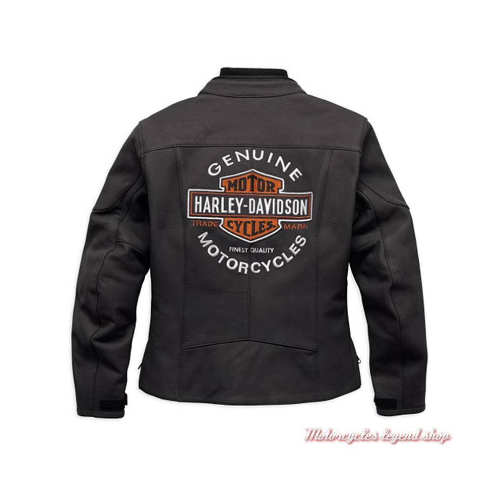 Blouson cuir Legend Harley-Davidson femme, noir mat, Bar & Shield brodé, homologué CE, dos, 98131-17EW