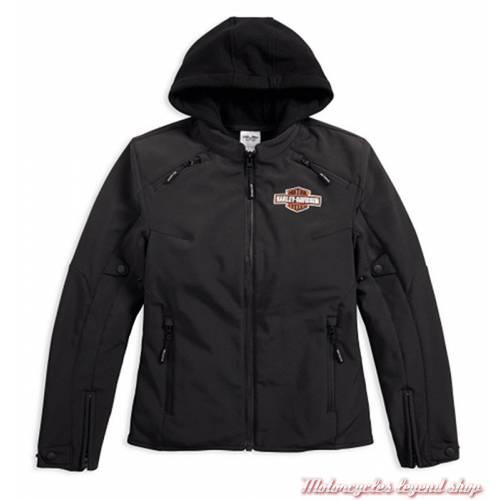 Blouson Legend 3 en 1 Soft shell Harley-Davidson femme, noir, sweat noir amovible, homologué CE, 98170-17EW