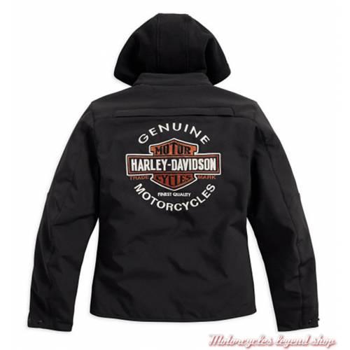 Blouson Legend 3 en 1 Soft shell Harley-Davidson femme, noir, sweat noir amovible, homologué CE, dos, 98170-17EW