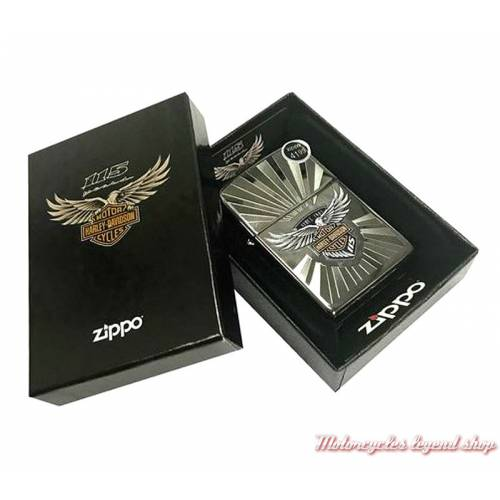 Zippo 115th Anniversary Harley-Davidson metal noir chromé, boite, 60003616
