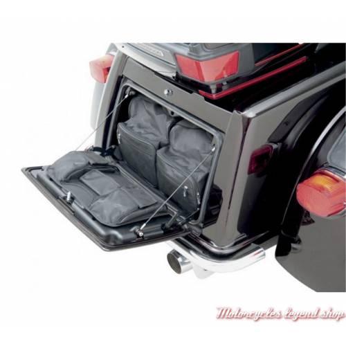 2 Bagages de coffre pour Tri Glide Harley-Davidson Saddlemen, nylon noir, zippés, visuel