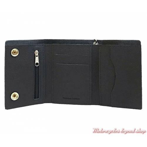 Portefeuille Bar & Shield noir Harley-Davidson, cuir grainé, chainette, intérieur, xml3517-blk