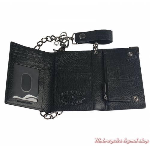 Portefeuille chaine Gun métal Harley-Davidson, cuir noir, 3 volets, intérieur, GM6516L-BLACK