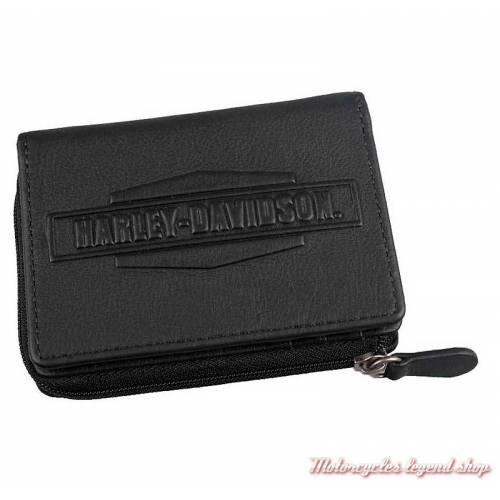 Porte monnaies Harley-Davidson, 2 volets, cuir noir,zippé, IM7968L-BLACK