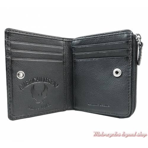 Porte monnaies Harley-Davidson, 2 volets, cuir noir,zippé, intérieur, IM7968L-BLACK
