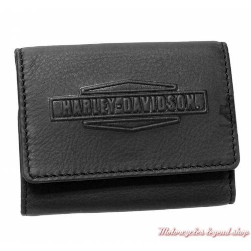 Porte monnaies Harley-Davidson, pliant, cuir noir, IM7981L