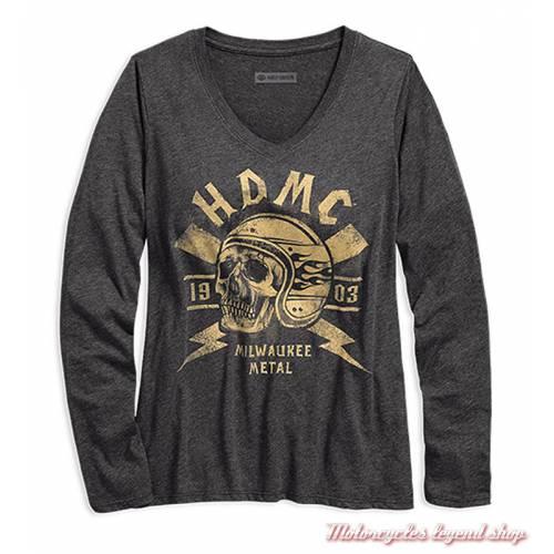 Tee-shirt Milwaukee Metal Harley-Davidson femme, gris foncé, doré, col V, manches longues, coton, polyester, 96172-18VW