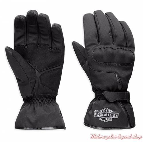 Gants textile Hulett Harley-Davidson homme, homologués, noir, nylon, imperméable, 97105-18EM