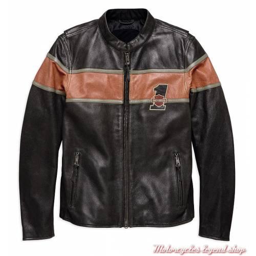 Blouson cuir Victory Lane Harley-Davidson homme, vintage, noir, orange, homologué, 98027-18EM
