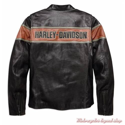 Blouson cuir Victory Lane Harley-Davidson homme, vintage, noir, orange, homologué, dos, 98027-18EM