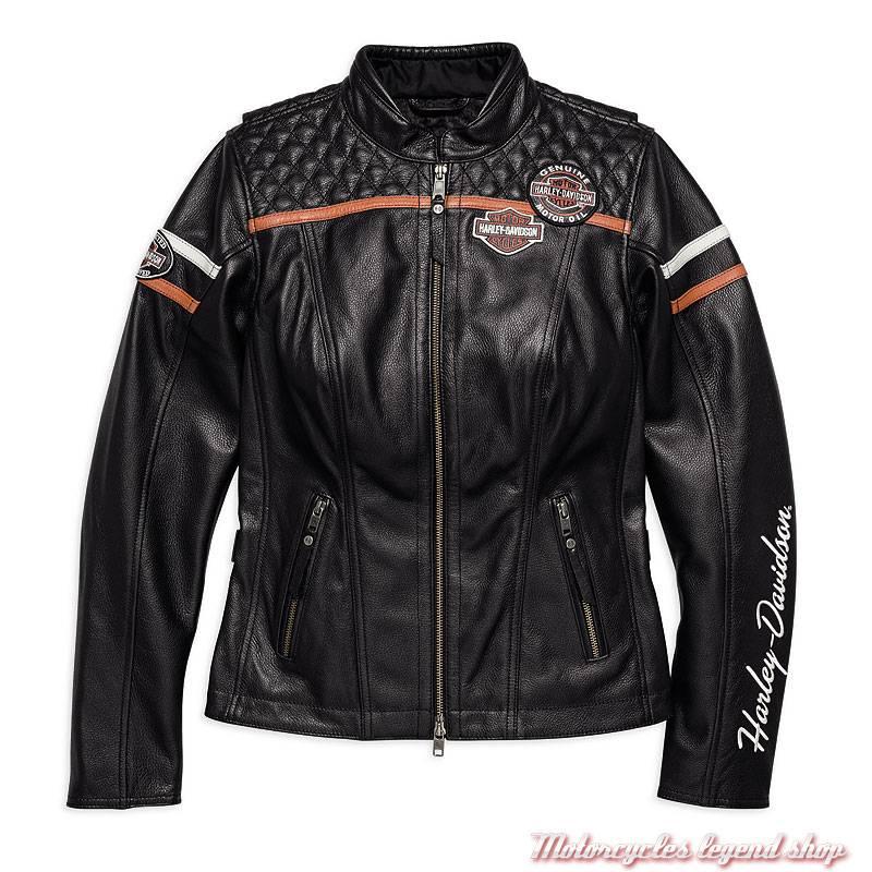Blouson cuir Miss Enthusiast Harley-Davidson femme, vintage, noir, homologué, 98030-18EW