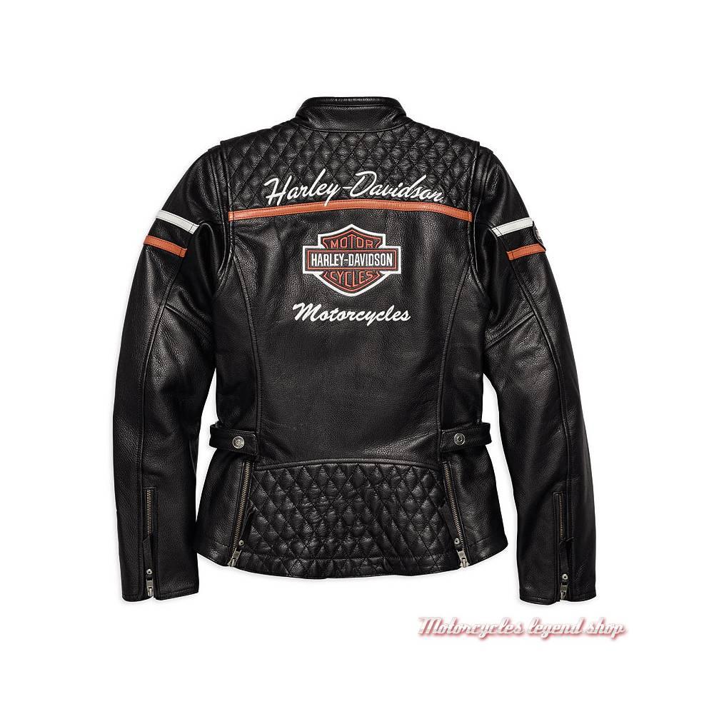 Blouson cuir Miss Enthusiast Harley-Davidson femme, vintage, noir, homologué, dos, 98030-18EW