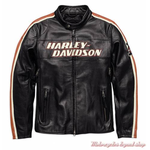 Blouson cuir Torque Harley-Davidson homme, vintage, noir, homologué, 98026-18EM