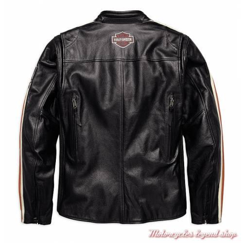 Blouson cuir Torque Harley-Davidson homme, vintage, noir, homologué, dos, 98026-18EM