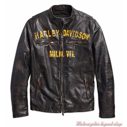 Blouson cuir Forge Harley-Davidson homme, noir vieilli, vintage, 97006-18VM