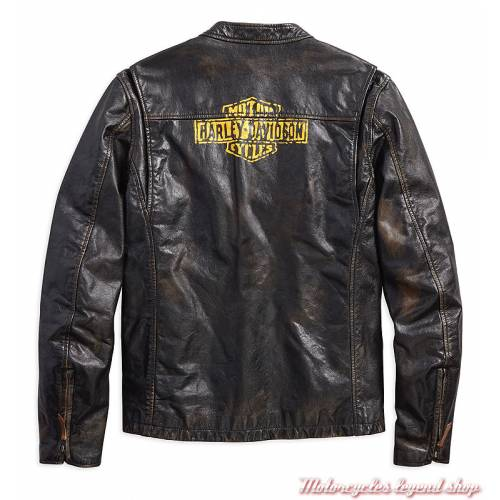Blouson cuir Forge Harley-Davidson homme, noir vieilli, vintage, dos, 97006-18VM