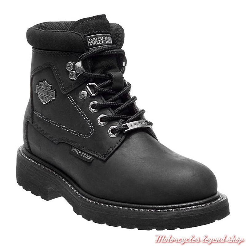Chaussures Bedon Harley-Davidson femme, cuir noir, waterproof, homologués CE, à lacets, D86028