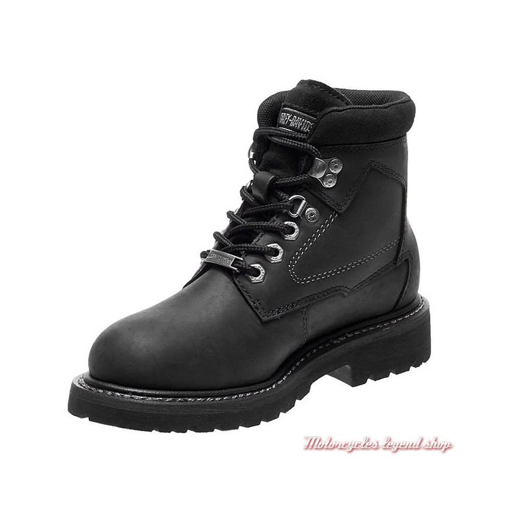 Chaussures Bedon Harley-Davidson femme, cuir noir, waterproof, homologués CE, à lacets, D86028-2