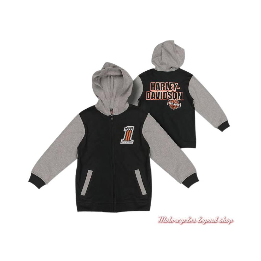 Sweatshirt zippé garçon Harley-Davidson, à capuche, noir et gris, coton, polyester, 6571835, 6581835