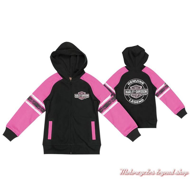 Sweatshirt zippé fille Harley-Davidson, à capuche, noir et rose, coton, polyester, 6521823, 6531823, 6541823