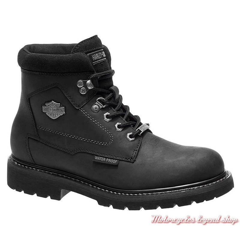 Chaussures Thurmond Harley-Davidson homme, cuir noir, waterproof, homologués CE, à lacets, D97014