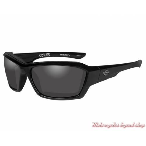 Lunettes solaire Kicker Harley-Davidson, noir brillant, verre gris, HAKIC01