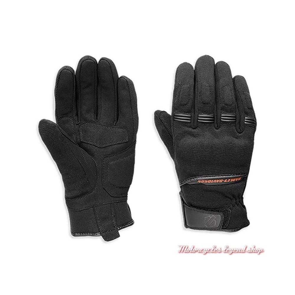 Gants Emmet Harley-Davidson homme, textile, noir, elasthanne, homologués CE, 97106-18EM