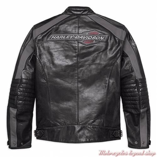Blouson cuir Clarno Harley-Davidson homme, noir, micro perforé, homologué CE, dos, 97011-18EM