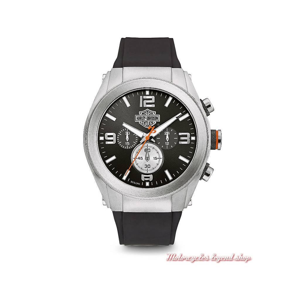 Montre Heavy Metal Harley-Davidson homme, chrono, à aiguille, bracelet caoutchouc, 76B169