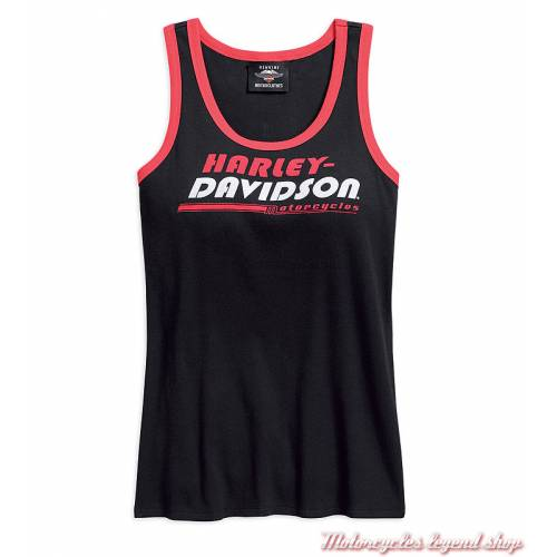 Débardeur Stripe Harley-Davidson femme, noir, rouge, blanc, racing, coton, 96200-18VW