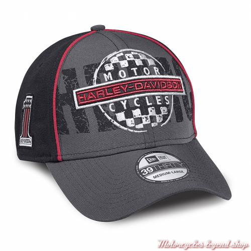 Casquette Checkerboard Harley-Davidson homme, racing, noir, gris, rouge, 39THIRTY, polyester, 97663-18VM